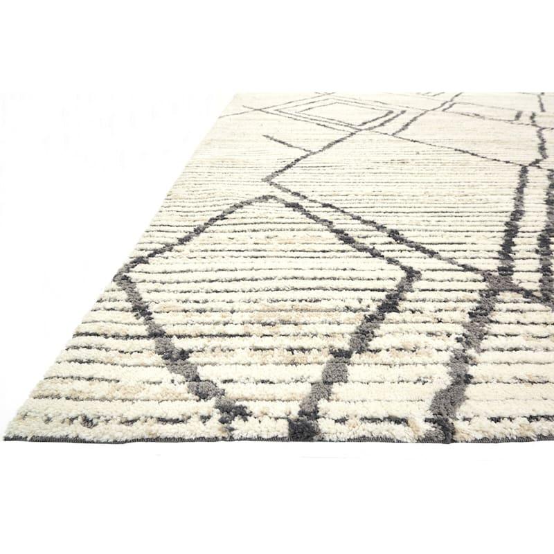 (A359) Austin Natural & Grey Microfiber Area Rug, 5x7