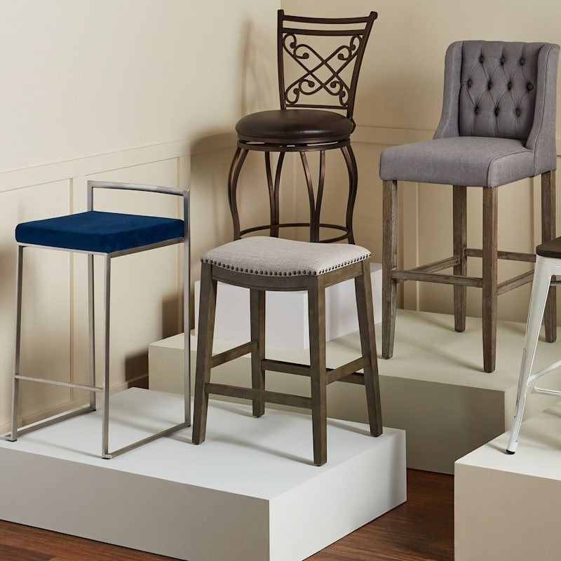 """Rome Brown Metal Swivel Counter Stool with Upholstered Seat, 24"""""""