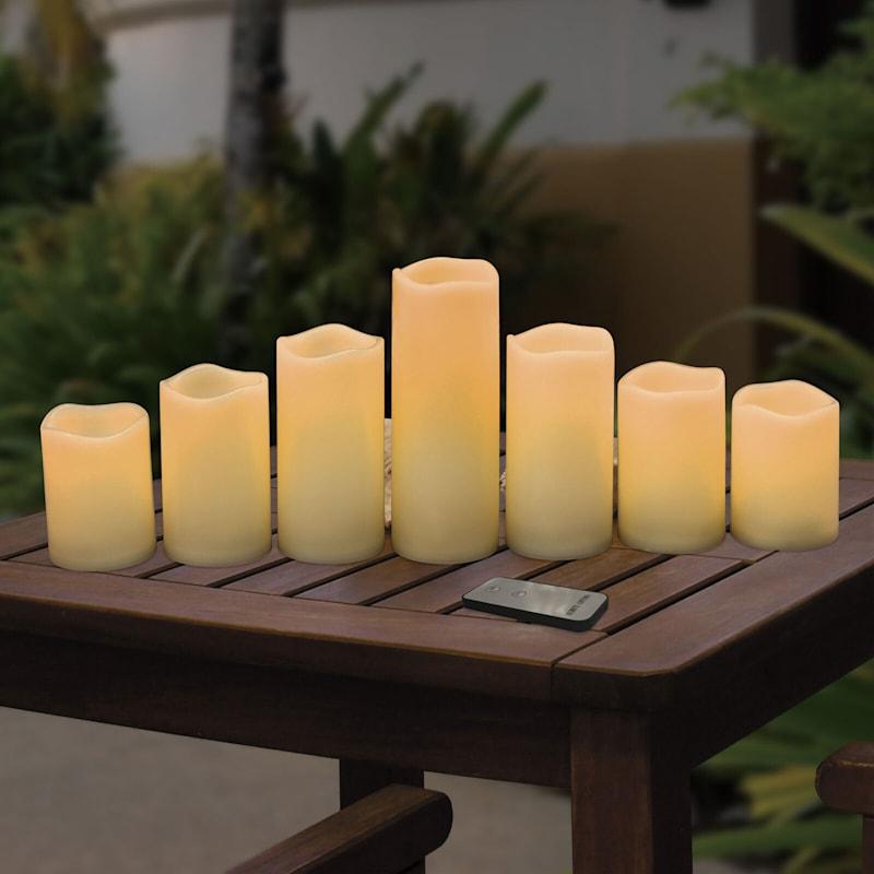 Set Of 7 Led Plastic Candles Ivory 3X4 3X5 3X6 3X8