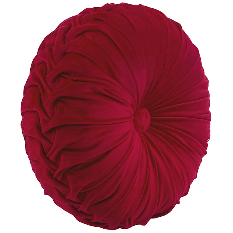 Holan Maroon Pleated Velvet Round Pillow With Button 16in.