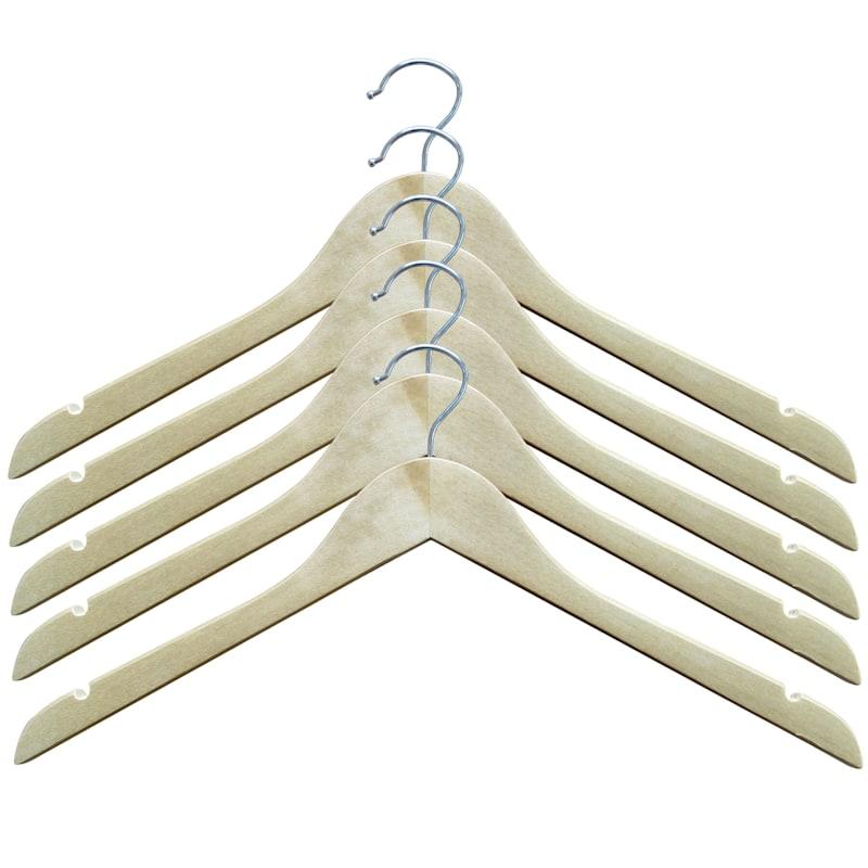 Wood Natural 5-Piece Shirt Hanger