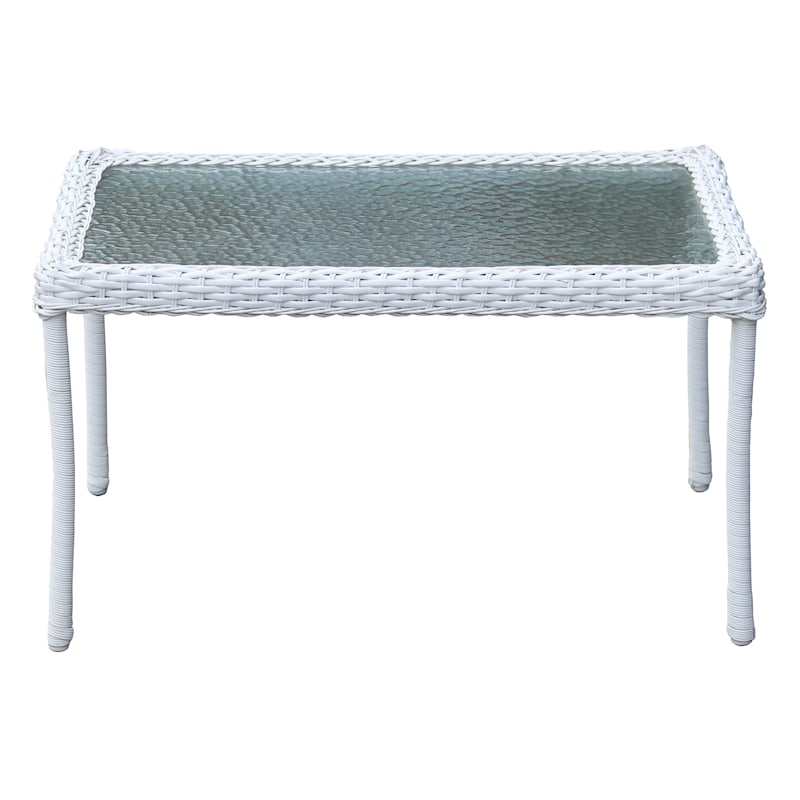 Outdoor Wicker Tempered Glass Top Coffee Table, White