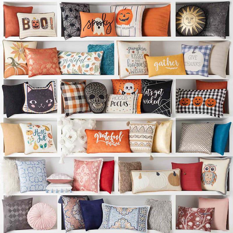 Orange Ripple Textured Plush Pillow 14X20
