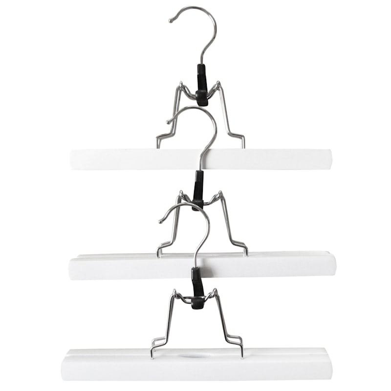Wood White 3-Piece Pant Hanger/Clamp