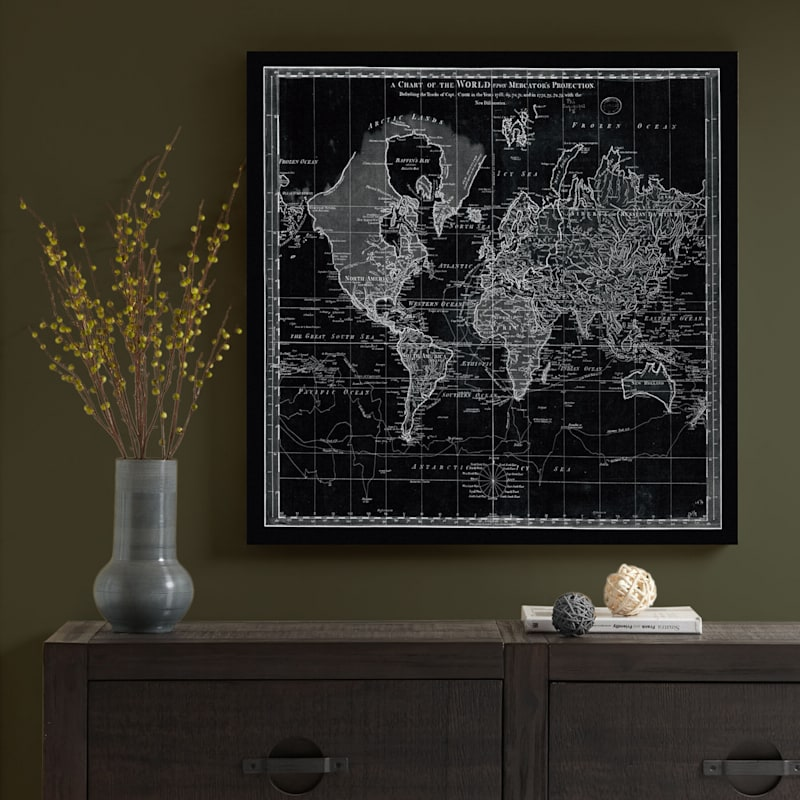 35X35 Vintage World Chart Canvas Art