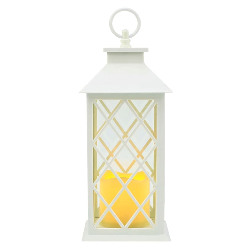 5X12 Plastic Lantern Weatherproof W/Led Candle Diamond Pane Timer White
