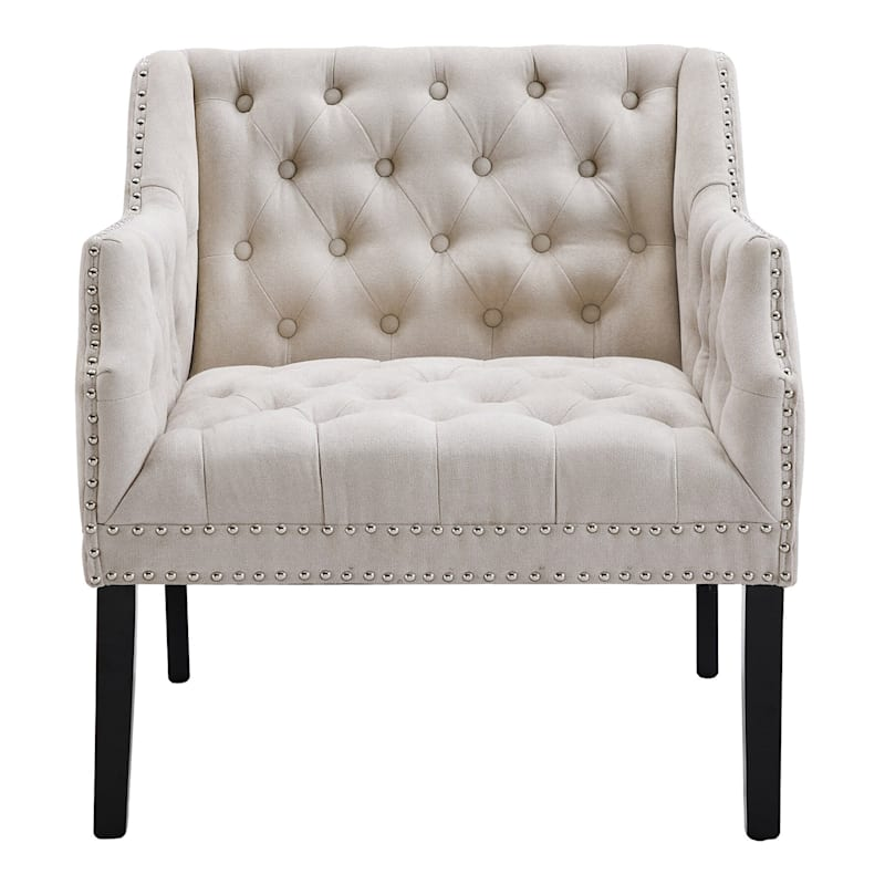 Lena Ivory Velvet Tufted Arm Chair with Nailhead Trim