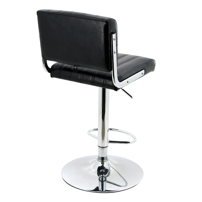 Warren Black Faux Leather Adjustable Barstool