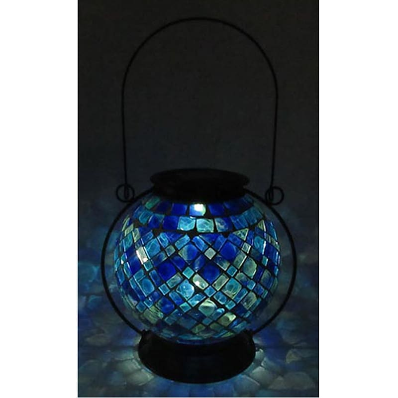 Metal Mosaic Glass Round Lantern W/Swirled Diamond Rectangle Tile Glass Pattern