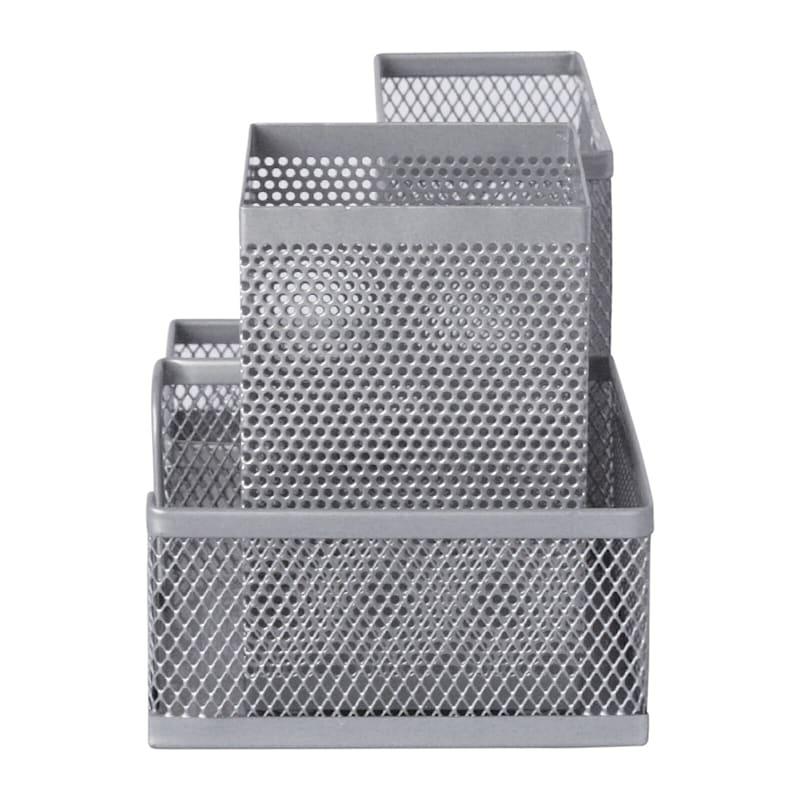 Metal Mesh 3 Section Organizer Silver