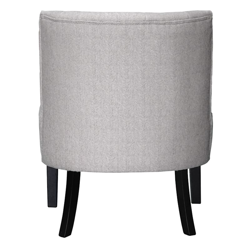Rich Light Grey Tufted Armless Accent Chair with Performance Fabric