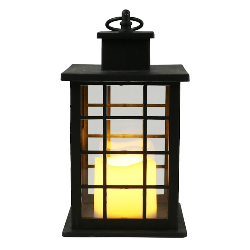 6X10 Plastic Lantern Weatherproof W/Led Candle Multipaned Timer Black
