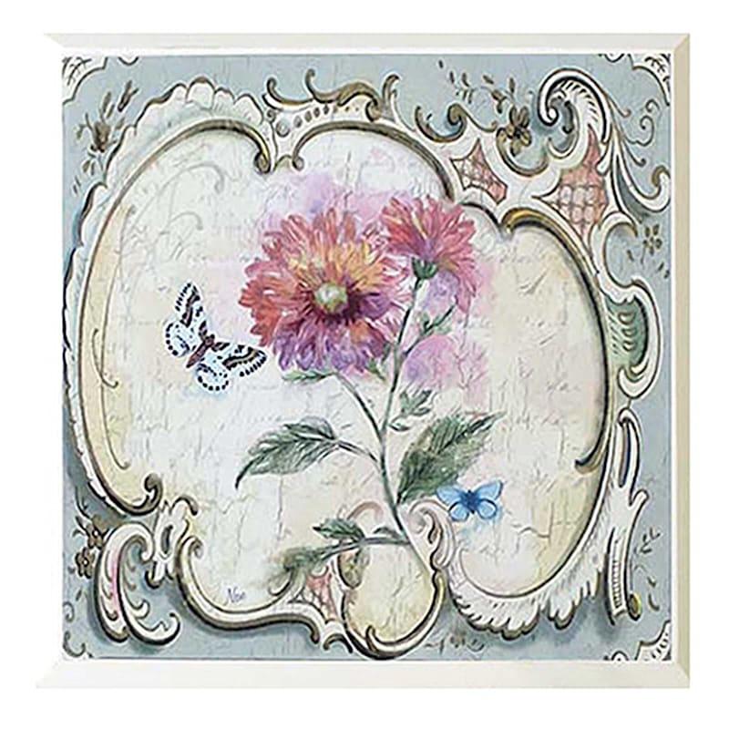8X8 3-Pc Antique Floral Art Wood Plaques