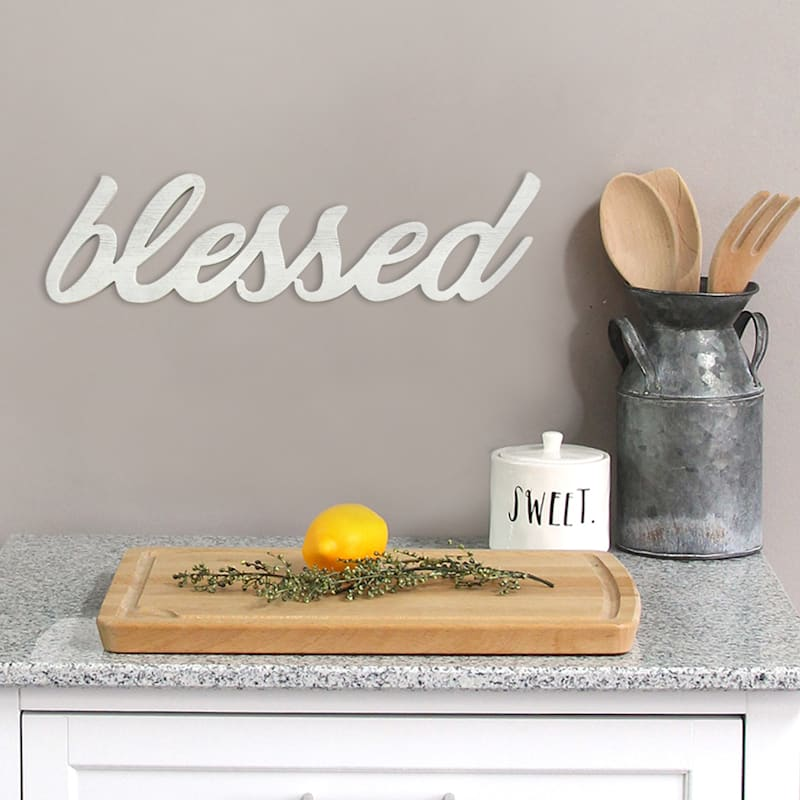 23X6 Blessed Word Wood Wall Decor