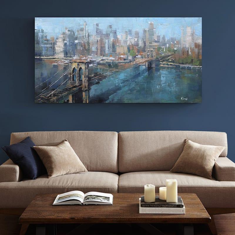 60X36 Brooklyn Bridge Embellished Canvas Art