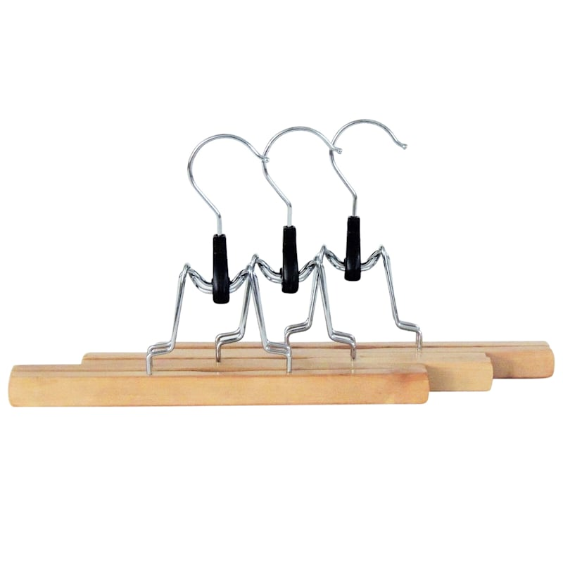 Wood Natural 3-Piece Pant Hanger/Clamp