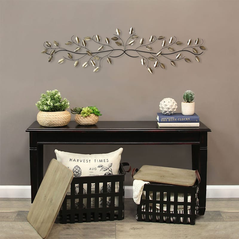 48X12 Silver Leaf Over The Door Wall Decor