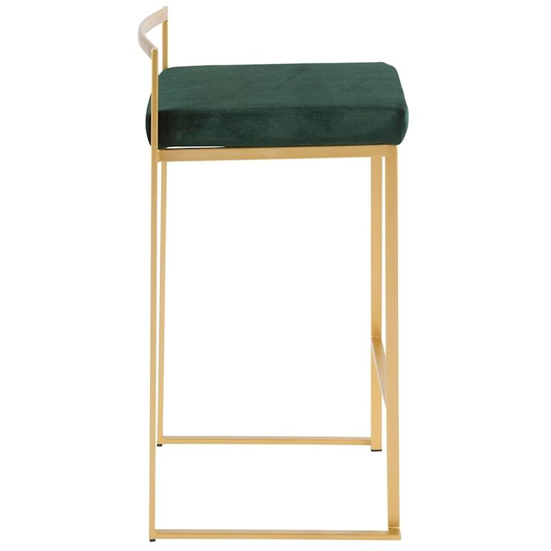 Fuji Barstool, Gold with Green Seat