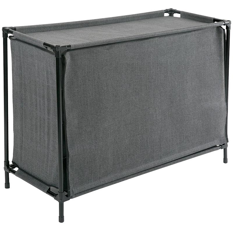 16 Cube Stackable Shoe Rack/Cover Black