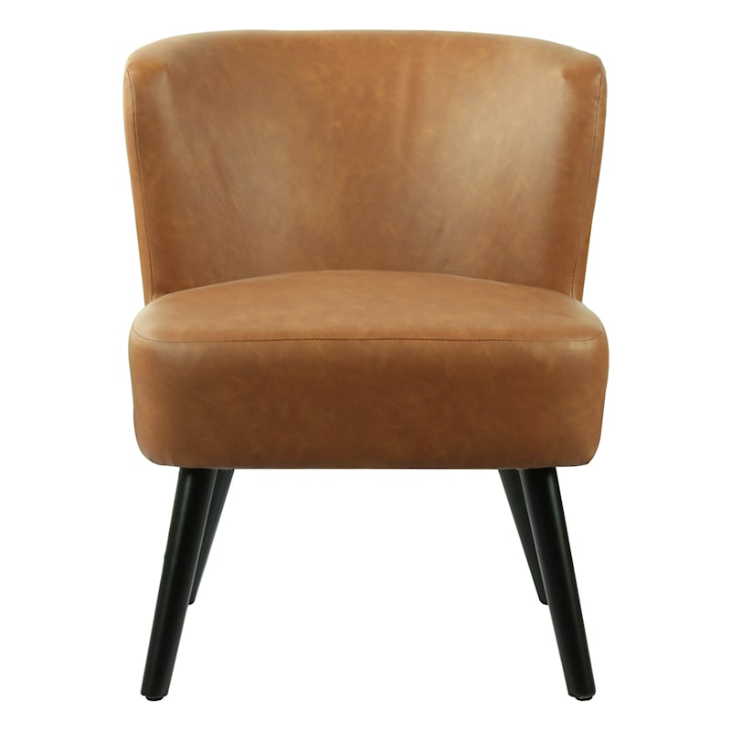 Rally Chair Brown Faux Leather with Wooden Legs