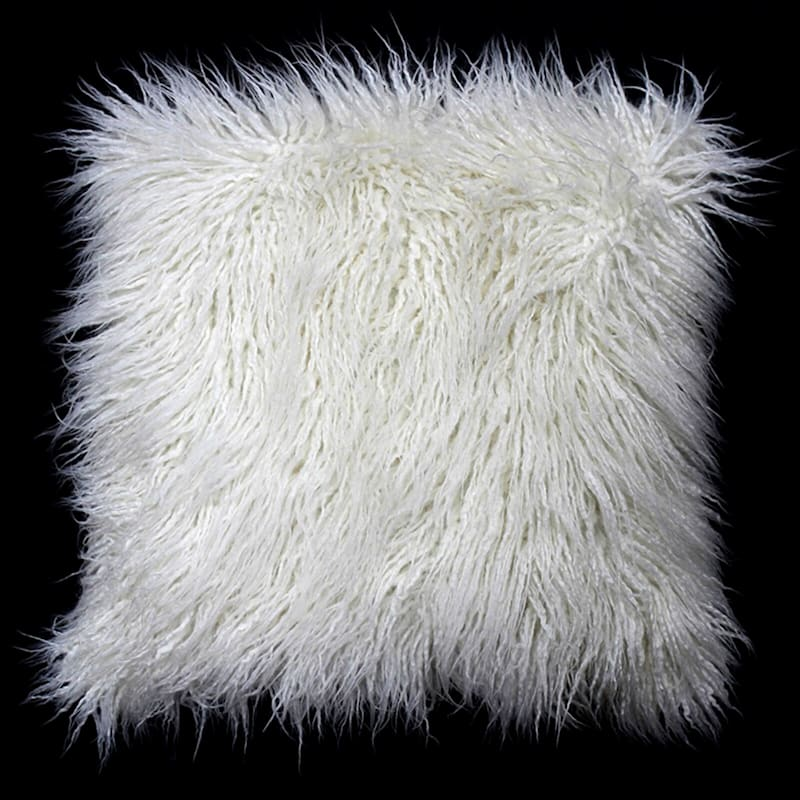 "Mongolian White Faux Fur Throw Pillow, 18"""