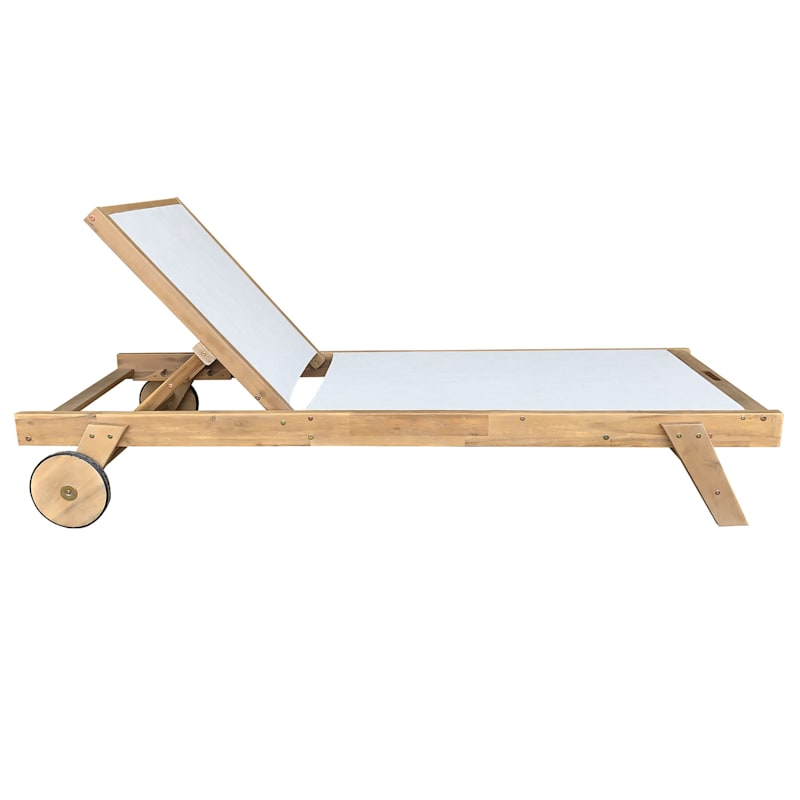 Park City Outdoor Wood Chaise Lounger with Wheels