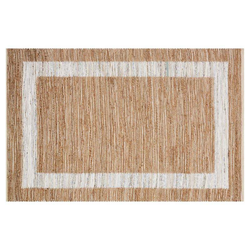 (B312) Henning Hand Woven Cotton & Jute Ivory Chindi Area Rug, 8x10