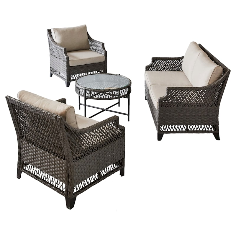 Set of 2 Rochester All Weathered Wicker Lounge Chair & Cushion, Dark Gray