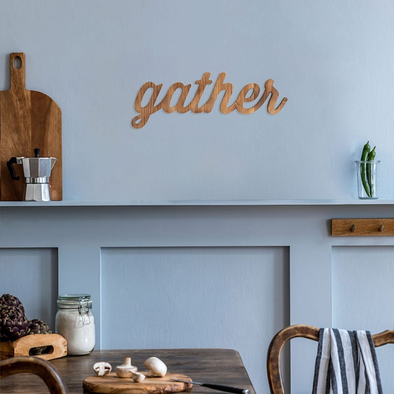22X8 Gather Word Wood Wall Decor