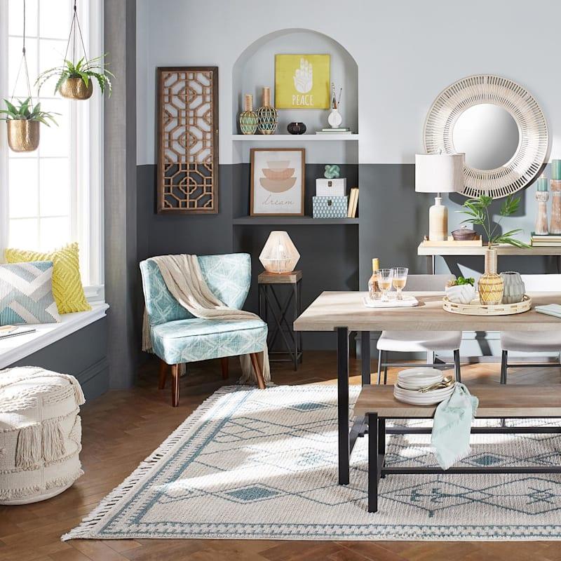 Tracey Boyd Sasha TB Dakari Blue Green Print Wing Accent Chair