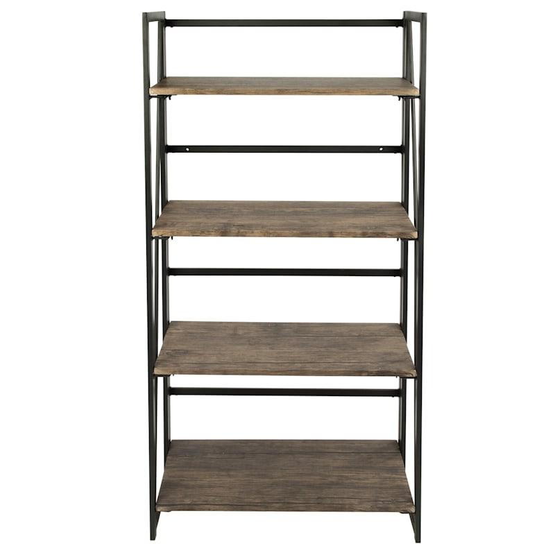 "Dakota Black & Brown Industrial Modern 4-Tier Bookshelf,  49"""