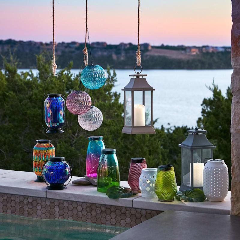 Glass Purple Lantern/Gold Metal Base/Solar Panel On Top