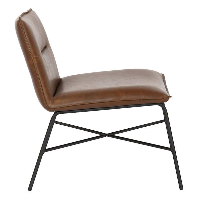 Zoey Brown Faux Leather Armless Accent Chair