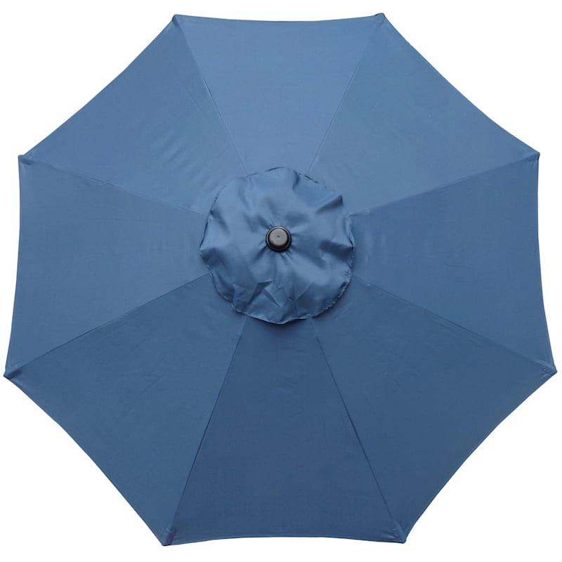 Steel Dark Blue Round Crank & Tilt Outdoor Umbrella, 7.5'
