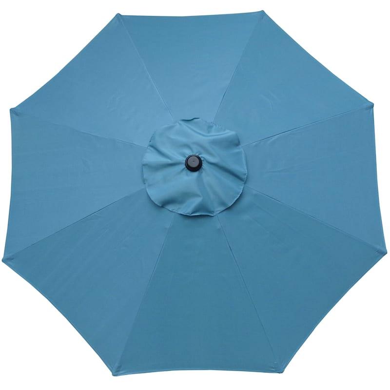 Steel Spa Blue Round Crank & Tilt Outdoor Umbrella, 7.5'
