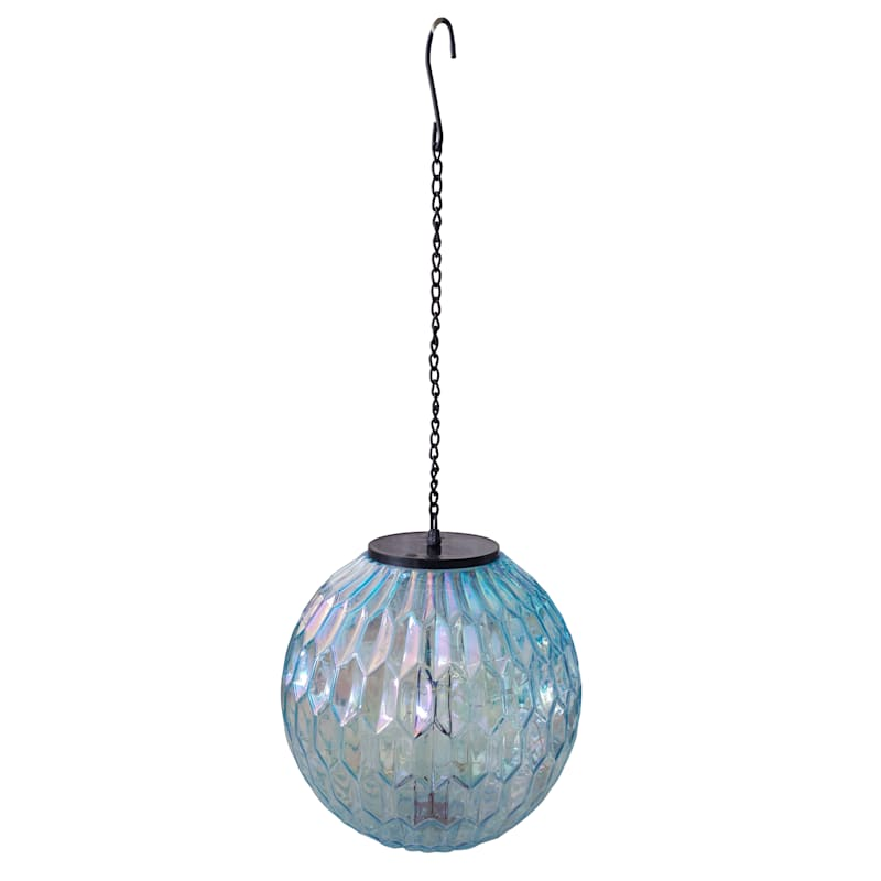 8in. Solar Led Glass Lantern