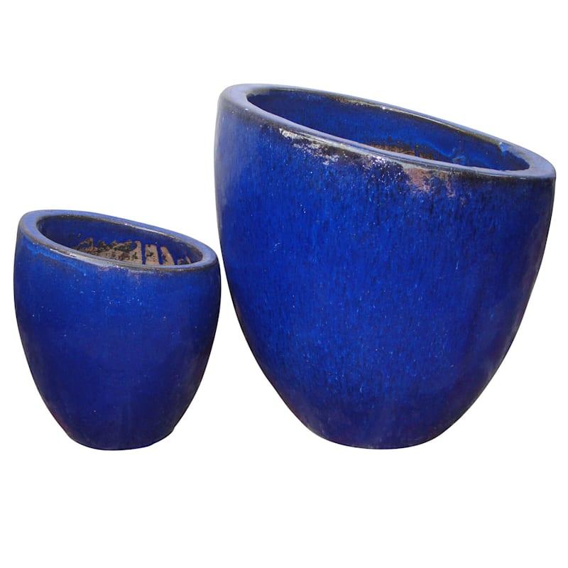 Fall Away Ceramic Planter 17.7in. Blue