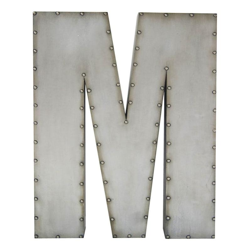 31in. Galvanized Mj Nailhead Letter