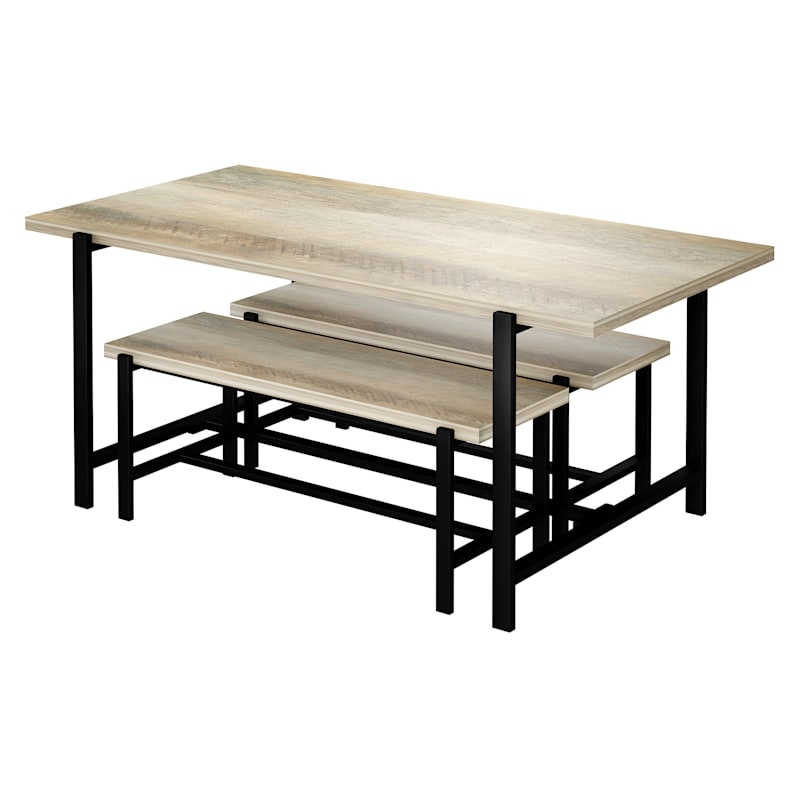 Loggy Wood & Metal Dining Bench, 47'