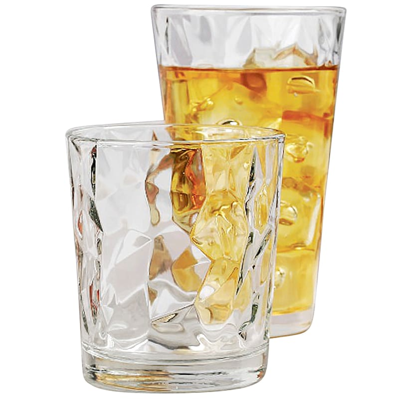 Cabrini 16-Piece Glassware Set 8 Coolers/8 Double Old Fashioned Glasses