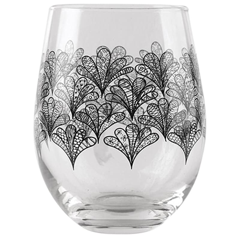 Moroccan Design Decaled Stemless Wine Glass Set 4