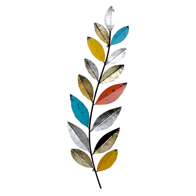 7X32 Metal Multi Color Weathered Leaves Wall Decor