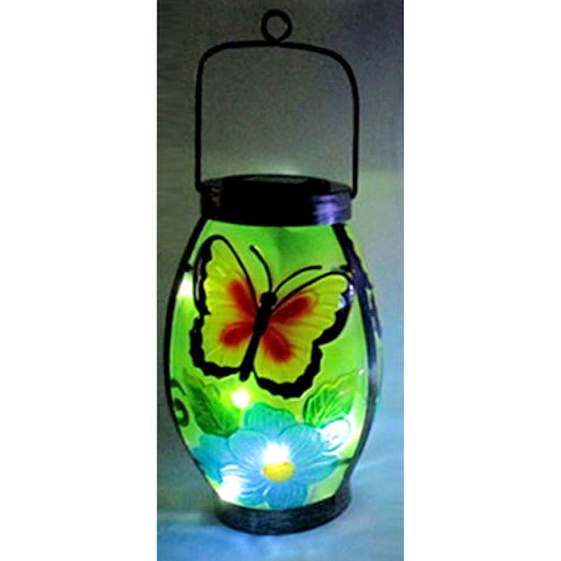 Metal Fused Glass Lantern/Butterfly/Flower Design