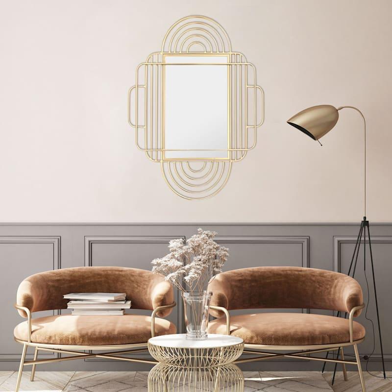 28x35 Geometric Gold Metal Mirror