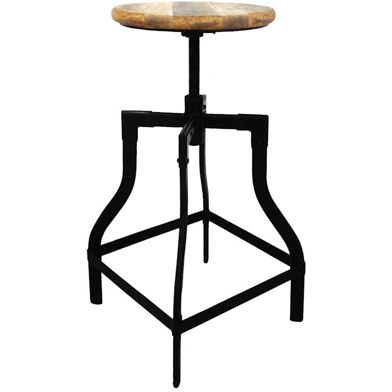 Waco Adjustable Round Solid Wood Top Metal Backless Barstool