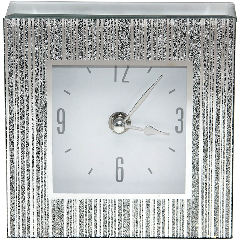 5X5 Silver Mirror Clock