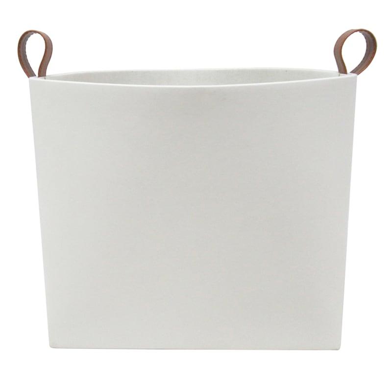FAUX LEATHER WHITE BASKET - M