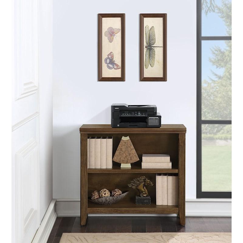 Catania 2-Tier Brown Wood & Wood Veneer Adjustable Bookshelf