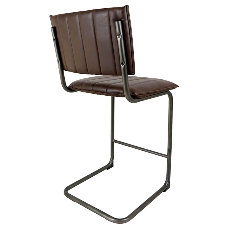 Luka Dark Brown Faux Leather Counter Stool With Metal Base