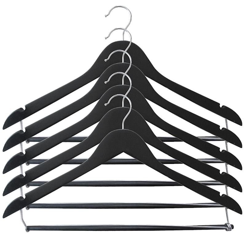 Wood Black 5-Piece Suit Hanger/Bar